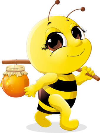 Illustration for beautiful bee which carries a pot of honey on a stick - Royalty Free Image