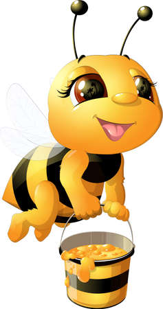 Illustration for funny bee painted on a white background - Royalty Free Image