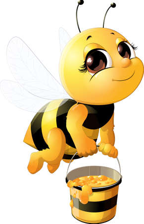 Illustrazione per Beautiful bee with a bucket - Immagini Royalty Free