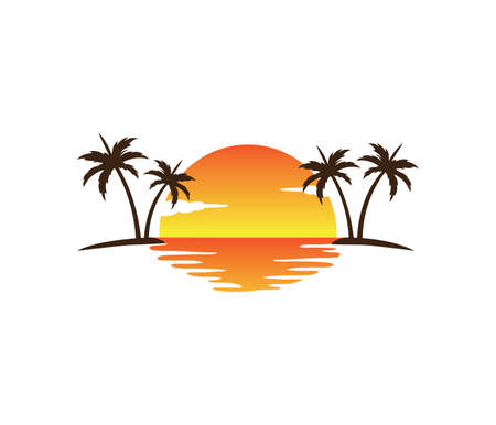 Illustration for sunset palm coconut tree beach vector logo design - Royalty Free Image