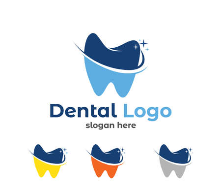 Illustration pour vector logo design illustration perfect suitable for dental clinic healthcare, dentist practice, tooth treatment, healthy tooth and mouth, and more - image libre de droit