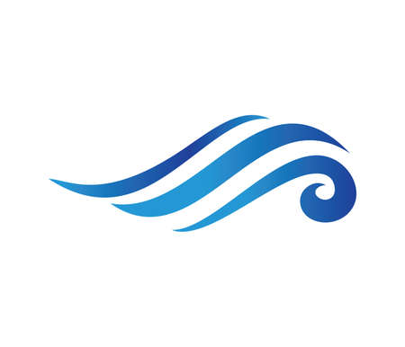 Ilustración de vector logo design perfectly suitable for dynamic wave, ocean sea water wave home resort, sailing boat, ocean cruise tour company and business - Imagen libre de derechos