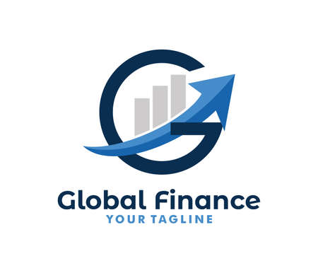 Illustration for vector logo design info graphic with line bar chart of financial or stock exchange, increase profit, business management company in letter G - Royalty Free Image
