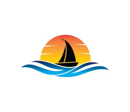 Ilustración de vector logo design of ocean sea water beach summer sailing tourism for travel,tour, yacht, hotel ship, hospitality in the sea business - Imagen libre de derechos