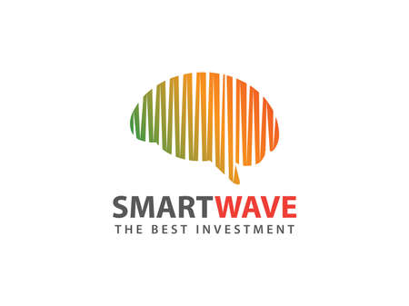 Ilustración de smart brain wave vector logo design for smart business, intelligence research, smart application, advance technology and more - Imagen libre de derechos