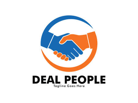 Illustration pour vector logo design of deal handshake sign meaning of friendship, partnership cooperation, business teamwork and trust - image libre de droit