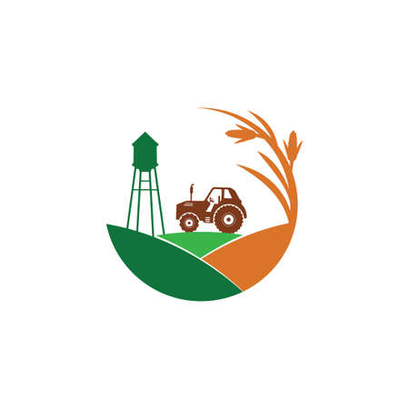 Illustration for agriculture corn field farm industry vector logo design template with tractor and water tower in the middle of the hill - Royalty Free Image