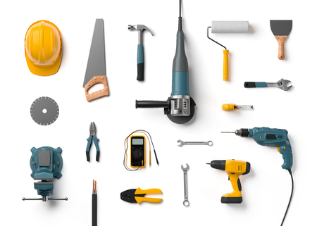 Photo pour helmet, drill, angle grinder and other construction tools on a white background isolated - image libre de droit