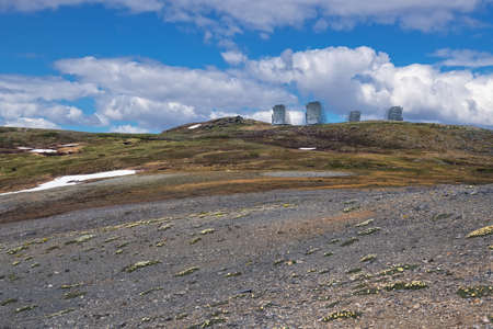 Photo for The 1950's Air Force constructed communications system remains on Anvil Mountain in Nome Alaska. - Royalty Free Image