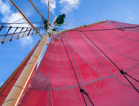 Red Sails Mast and Ships Rigging