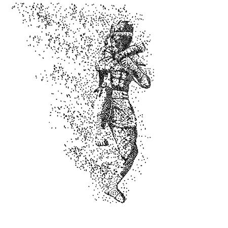 Ilustración de muay thai particle vector illustration - Imagen libre de derechos