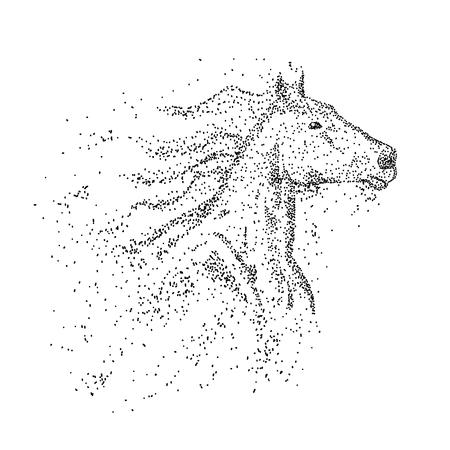 Ilustración de Horse head particle vector illustration - Imagen libre de derechos