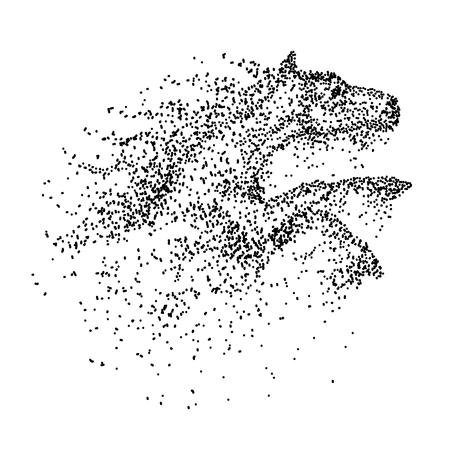 Ilustración de Horse Jump particle vector illustration - Imagen libre de derechos