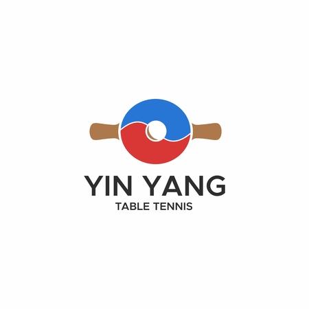 yin yang table tennis logo vector