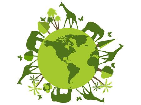 Ilustración de Animals on the planet, animal shelter, wildlife sanctuary. World Environment Day. Vector illustration. - Imagen libre de derechos