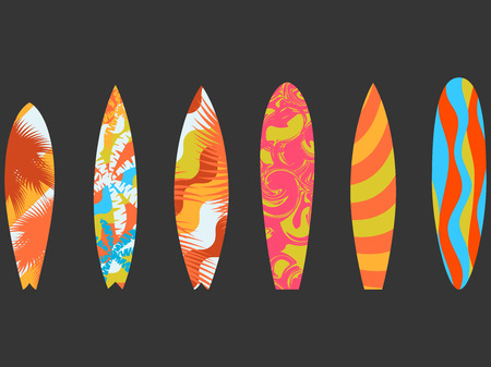 Types of surfboards with a pattern. Water sports and hobbies. Vector illustration