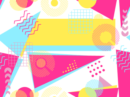 Illustration pour Memphis seamless pattern. Geometric elements memphis in the style of 80's. Bauhaus retro. Vector illustration. - image libre de droit