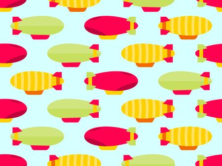 Illustration pour Dirigible seamless pattern. Colorful airships. Vector illustration - image libre de droit