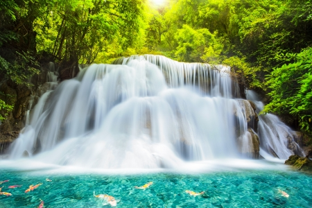 Photo for Level three of Huai Mae Kamin Waterfall in Kanchanaburi Province, Thailand - Royalty Free Image