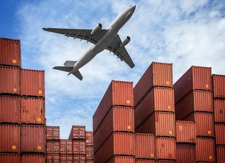 Foto de industrial port with containers and air - Imagen libre de derechos