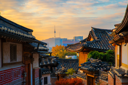 Photo for Ancient Korean town in Autumn and morning sunrise, Travel place in Seoul city, Seoul, South Korea - Royalty Free Image