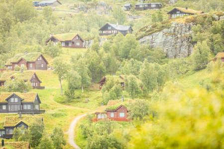 Photo pour Suleskard Fjellsenter cabins in mountains Sirdal Municipality, Norway - image libre de droit