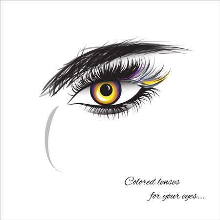 Illustration pour Vector eye with thick lashes. Color contact lenses. Hand drawing, lettering, fashion, beauty, sketch - image libre de droit
