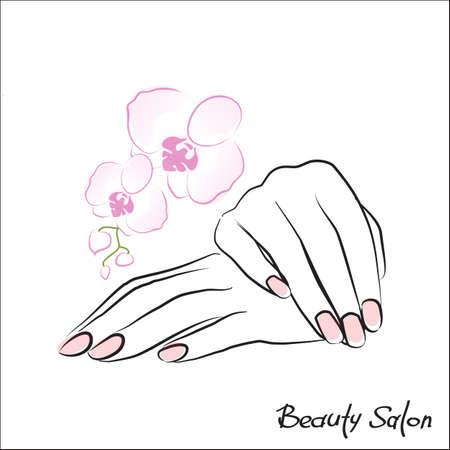 Illustration pour Female hand with painted nails, pink manicure symbol. Vector illustration. - image libre de droit