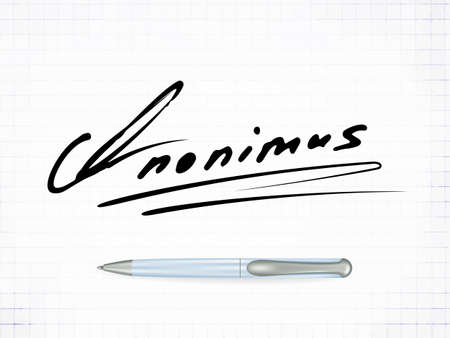 Ilustración de Signature Anonimus Vector Icon. Fictitious signature and realistic ball pen on a traced paper background - Imagen libre de derechos