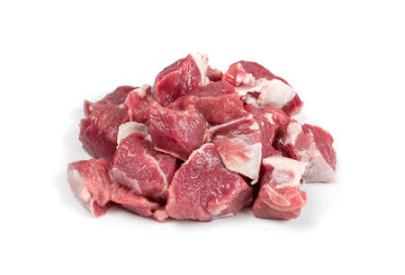 Photo for Raw chopped lamb fillet, diced tenderloin or cubed mutton sirloin meat isolated. Fresh sheep fillet cubes, loin filet with ground pepper for skewers - Royalty Free Image