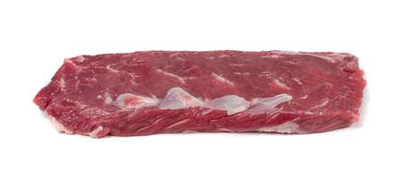 Foto de Raw lamb tenderloin fillet or mutton sirloin meat isolated on white background. Fresh sheep fillet, loin filet closeup - Imagen libre de derechos