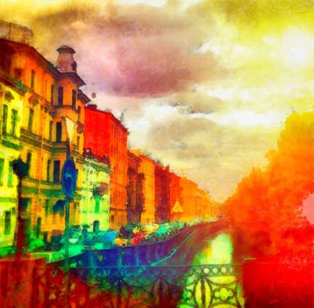 Foto de Digital watercolor colorful natural background - Imagen libre de derechos