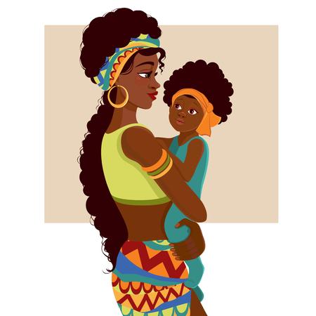 Ilustración de Beautiful young African-American woman of black mother and baby in cartoon style. - Imagen libre de derechos