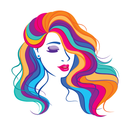 Illustration pour Beauty fashion girl with colorful long dyed hair. Portrait of a beautiful woman with a curly hair, curly long haircut vector illustration, salon icon. - image libre de droit