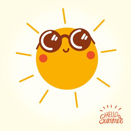Ilustración de Summer sun face with sunglasses and happy smile. - Imagen libre de derechos