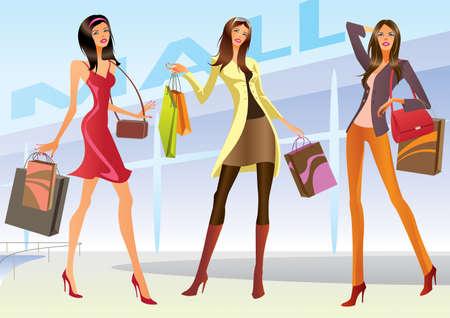 Ilustración de Fashion shopping girls illustration - Imagen libre de derechos