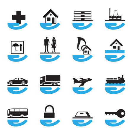 Diverse insurance icons set illustration