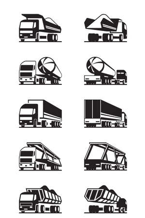 Illustration pour Different trucks with trailers - vector illustration - image libre de droit