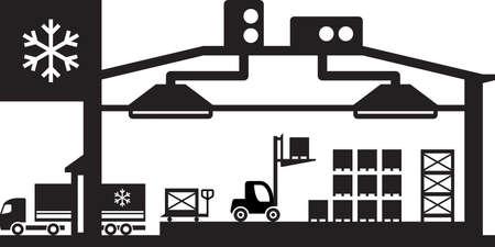 Ilustración de Industrial cold store scene - vector illustration - Imagen libre de derechos