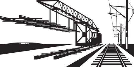 Construction of railway track - vector illustration