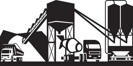 Illustration pour Concrete plant with trucks - vector illustration - image libre de droit