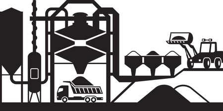 Illustration pour Asphalt mixing plant - vector illustration - image libre de droit