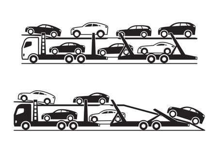 Illustration pour Car transporter trucks  vector illustration - image libre de droit
