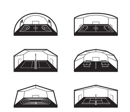 Illustration pour Covered sports facilities - vector illustration - image libre de droit
