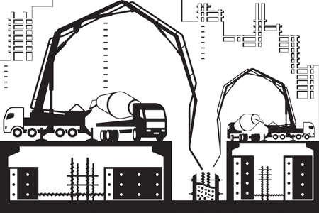 Illustration pour Concrete pump trucks on construction site - image libre de droit