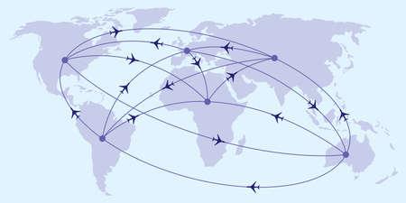 Illustration pour Intercontinental passenger flights - vector illustration - image libre de droit