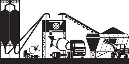 Illustration pour Concrete batching plant - vector illustration - image libre de droit