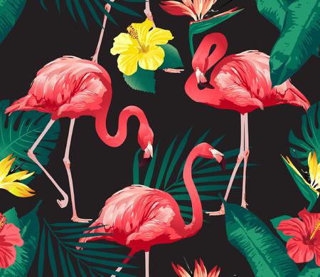 Illustration pour Flamingo Bird and Tropical Flowers Background - Seamless pattern vector - image libre de droit