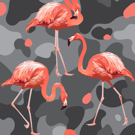 Illustration pour Beautiful pink flamingo print. - image libre de droit