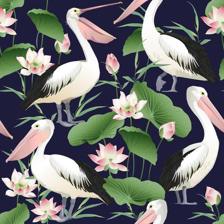Ilustración de Pattern with graceful pelicans. - Imagen libre de derechos